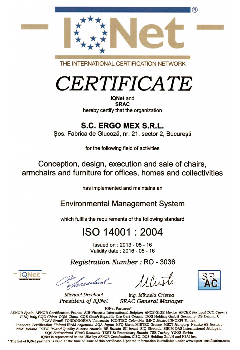 Certificare IQNet 14001