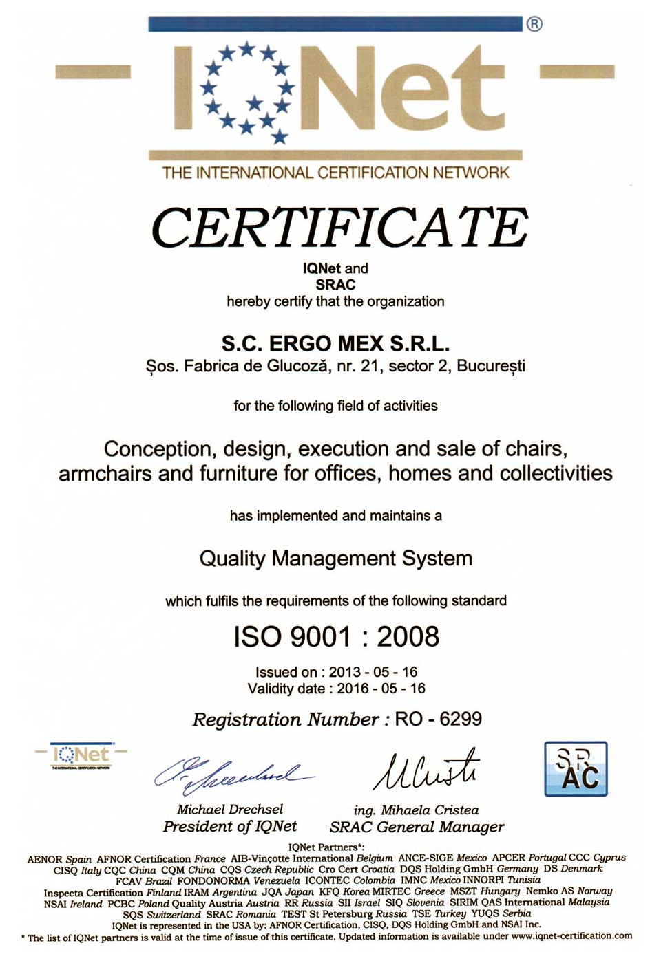 Certificare IQNet 9001